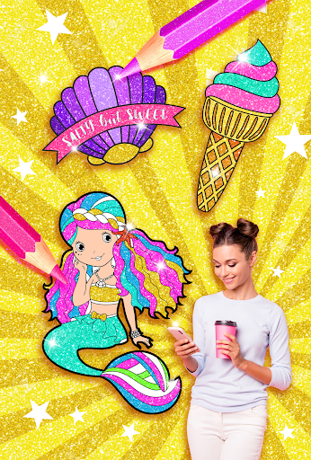 Rainbow Glitter Coloring Book Mermaids