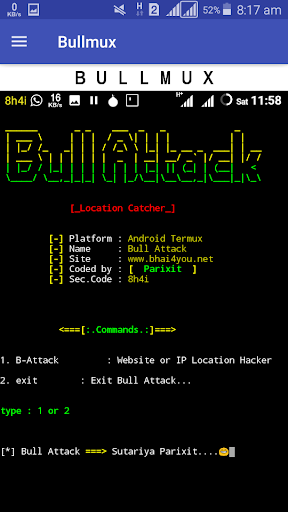 Bullmux - Commands and Tools for Termux Hack Cheats Android iOS