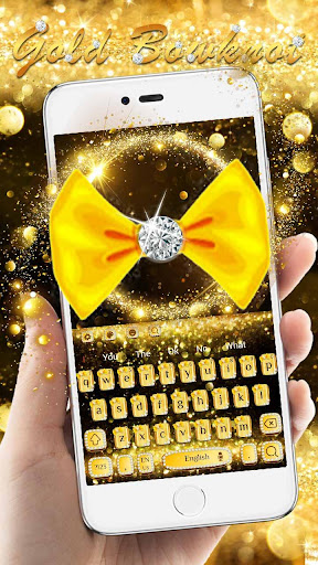 Gold Glitter Bowknot Keyboard hack tool
